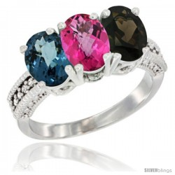 10K White Gold Natural London Blue Topaz, Pink Topaz & Smoky Topaz Ring 3-Stone Oval 7x5 mm Diamond Accent