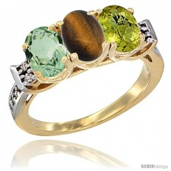 10K Yellow Gold Natural Green Amethyst, Tiger Eye & Lemon Quartz Ring 3-Stone Oval 7x5 mm Diamond Accent