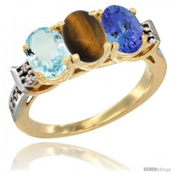 10K Yellow Gold Natural Aquamarine, Tiger Eye & Tanzanite Ring 3-Stone Oval 7x5 mm Diamond Accent