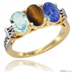 10K Yellow Gold Natural Aquamarine, Tiger Eye & Tanzanite Ring 3-Stone Oval 7x5 mm Diamond Accent