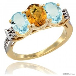 10K Yellow Gold Natural Whisky Quartz & Aquamarine Sides Ring 3-Stone Oval 7x5 mm Diamond Accent