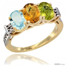 10K Yellow Gold Natural Aquamarine, Whisky Quartz & Lemon Quartz Ring 3-Stone Oval 7x5 mm Diamond Accent