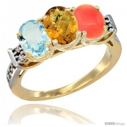 10K Yellow Gold Natural Aquamarine, Whisky Quartz & Coral Ring 3-Stone Oval 7x5 mm Diamond Accent