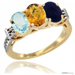 10K Yellow Gold Natural Aquamarine, Whisky Quartz & Lapis Ring 3-Stone Oval 7x5 mm Diamond Accent