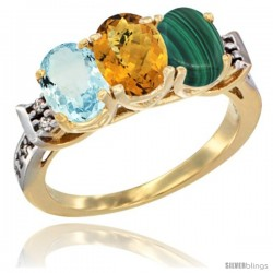 10K Yellow Gold Natural Aquamarine, Whisky Quartz & Malachite Ring 3-Stone Oval 7x5 mm Diamond Accent