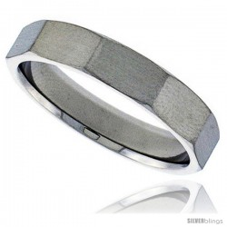 Surgical Steel Faceted 5mm Wedding Band Thumb Ring Beveled Edges Matte Finish Comfort-Fit