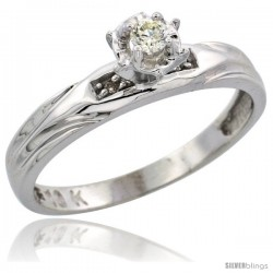 Sterling Silver Diamond Engagement Ring, w/ 0.06 Carat Brilliant Cut Diamonds, 1/8in. (3.5mm) wide