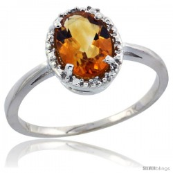 10k White Gold Diamond Halo Citrine Ring 1.2 ct Oval Stone 8x6 mm, 1/2 in wide
