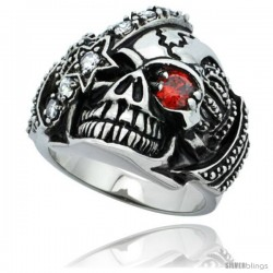 Surgical Steel Biker Skull Ring Red CZ Eye & Eye patch Crown on each side 1 in long