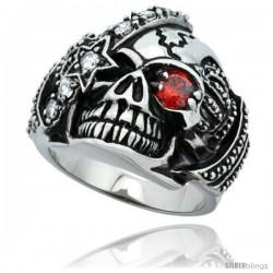 Surgical Steel Biker Skull Ring Red CZ Eye & Eye patch Crown on each side 1 in long