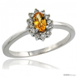 10k White Gold Diamond Halo Citrine Ring 0.25 ct Oval Stone 5x3 mm, 5/16 in wide