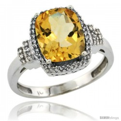 10k White Gold Diamond Halo Citrine Ring 2.4 ct Cushion Cut 9x7 mm, 1/2 in wide