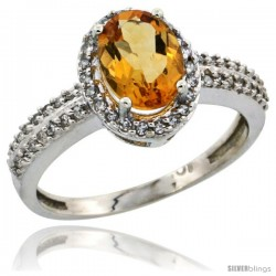 10k White Gold Diamond Halo Citrine Ring 1.2 ct Oval Stone 8x6 mm, 3/8 in wide