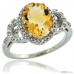 10k White Gold Diamond Halo Citrine Ring 2.4 ct Oval Stone 10x8 mm, 1/2 in wide