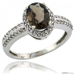 14k White Gold Diamond Halo Smoky Topaz Ring 1.2 ct Oval Stone 8x6 mm, 3/8 in wide