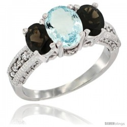 14k White Gold Ladies Oval Natural Aquamarine 3-Stone Ring with Smoky Topaz Sides Diamond Accent