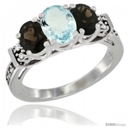 14K White Gold Natural Aquamarine & Smoky Topaz Ring 3-Stone Oval with Diamond Accent