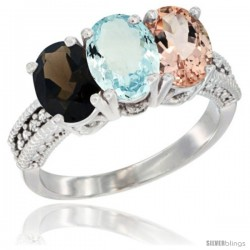 14K White Gold Natural Smoky Topaz, Aquamarine & Morganite Ring 3-Stone 7x5 mm Oval Diamond Accent