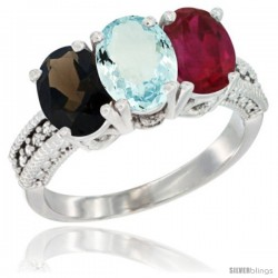 14K White Gold Natural Smoky Topaz, Aquamarine & Ruby Ring 3-Stone 7x5 mm Oval Diamond Accent