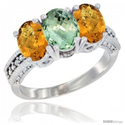14K White Gold Natural Green Amethyst Ring with Whisky Quartz 3-Stone 7x5 mm Oval Diamond Accent