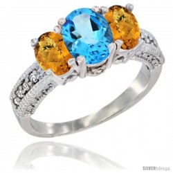 14k White Gold Ladies Oval Natural Swiss Blue Topaz 3-Stone Ring with Whisky Quartz Sides Diamond Accent