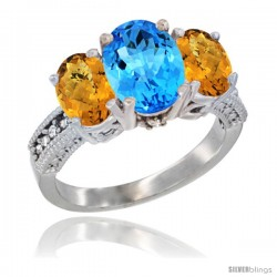 14K White Gold Ladies 3-Stone Oval Natural Swiss Blue Topaz Ring with Whisky Quartz Sides Diamond Accent