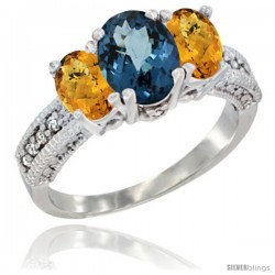 14k White Gold Ladies Oval Natural London Blue Topaz 3-Stone Ring with Whisky Quartz Sides Diamond Accent