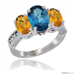 14K White Gold Ladies 3-Stone Oval Natural London Blue Topaz Ring with Whisky Quartz Sides Diamond Accent