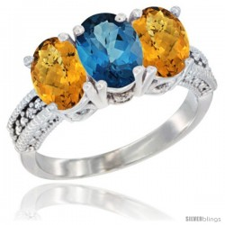 14K White Gold Natural London Blue Topaz Ring with Whisky Quartz 3-Stone 7x5 mm Oval Diamond Accent