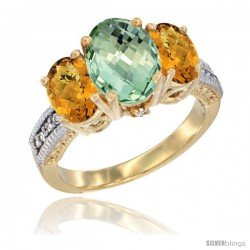 14K Yellow Gold Ladies 3-Stone Oval Natural Green Amethyst Ring with Whisky Quartz Sides Diamond Accent