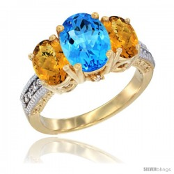 14K Yellow Gold Ladies 3-Stone Oval Natural Swiss Blue Topaz Ring with Whisky Quartz Sides Diamond Accent