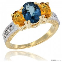 14k Yellow Gold Ladies Oval Natural London Blue Topaz 3-Stone Ring with Whisky Quartz Sides Diamond Accent