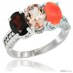 14K White Gold Natural Garnet, Morganite & Coral Ring 3-Stone 7x5 mm Oval Diamond Accent