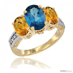 14K Yellow Gold Ladies 3-Stone Oval Natural London Blue Topaz Ring with Whisky Quartz Sides Diamond Accent