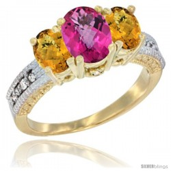 14k Yellow Gold Ladies Oval Natural Pink Topaz 3-Stone Ring with Whisky Quartz Sides Diamond Accent
