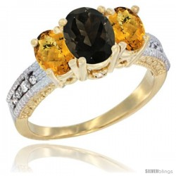 14k Yellow Gold Ladies Oval Natural Smoky Topaz 3-Stone Ring with Whisky Quartz Sides Diamond Accent