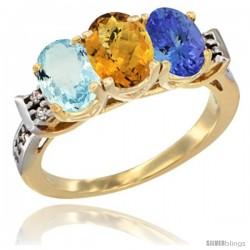 10K Yellow Gold Natural Aquamarine, Whisky Quartz & Tanzanite Ring 3-Stone Oval 7x5 mm Diamond Accent