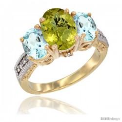 10K Yellow Gold Ladies 3-Stone Oval Natural Lemon Quartz Ring with Aquamarine Sides Diamond Accent