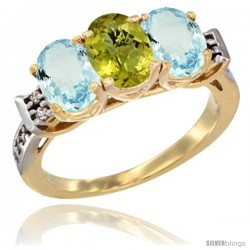 10K Yellow Gold Natural Lemon Quartz & Aquamarine Sides Ring 3-Stone Oval 7x5 mm Diamond Accent