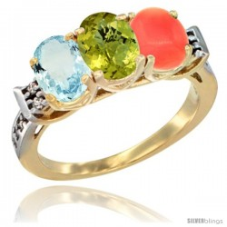 10K Yellow Gold Natural Aquamarine, Lemon Quartz & Coral Ring 3-Stone Oval 7x5 mm Diamond Accent