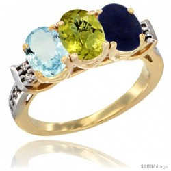 10K Yellow Gold Natural Aquamarine, Lemon Quartz & Lapis Ring 3-Stone Oval 7x5 mm Diamond Accent