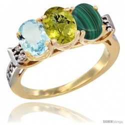 10K Yellow Gold Natural Aquamarine, Lemon Quartz & Malachite Ring 3-Stone Oval 7x5 mm Diamond Accent