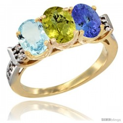 10K Yellow Gold Natural Aquamarine, Lemon Quartz & Tanzanite Ring 3-Stone Oval 7x5 mm Diamond Accent