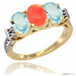 10K Yellow Gold Natural Coral & Aquamarine Sides Ring 3-Stone Oval 7x5 mm Diamond Accent