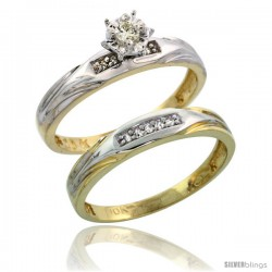 10k Yellow Gold Ladies' 2-Piece Diamond Engagement Wedding Ring Set, 1/8 in wide -Style Ljy114e2