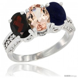 14K White Gold Natural Garnet, Morganite & Lapis Ring 3-Stone 7x5 mm Oval Diamond Accent