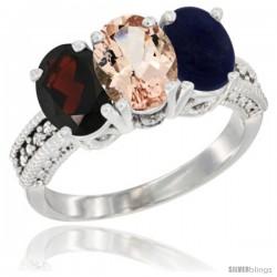 14K White Gold Natural Garnet, Morganite & Lapis Ring 3-Stone 7x5 mm Oval Diamond Accent