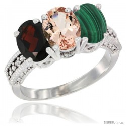14K White Gold Natural Garnet, Morganite & Malachite Ring 3-Stone 7x5 mm Oval Diamond Accent