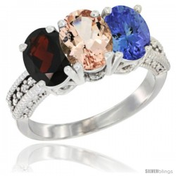 14K White Gold Natural Garnet, Morganite & Tanzanite Ring 3-Stone 7x5 mm Oval Diamond Accent