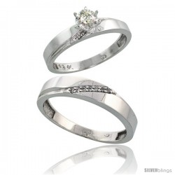 Sterling Silver 2-Piece Diamond Ring Set ( Engagement Ring & Man's Wedding Band ), w/ 0.10 Carat Brilli -Style Ag115em